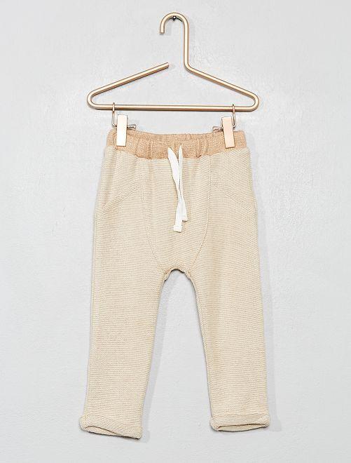 Pantalon en maille lourde grattée                                                     beige