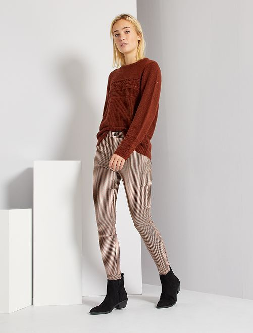 Pantalon en maille milano                             marron carreaux