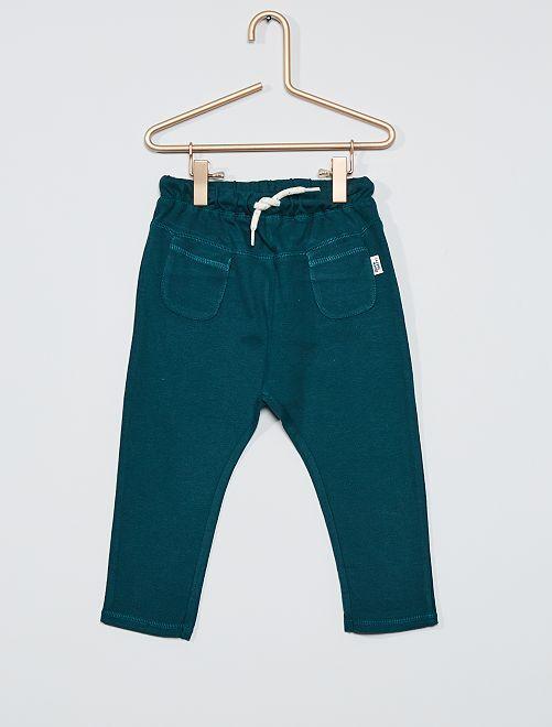 Pantalon en maille piqué de coton                     bleu canard