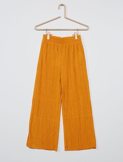 Pantalon en maille plissée                                                     jaune