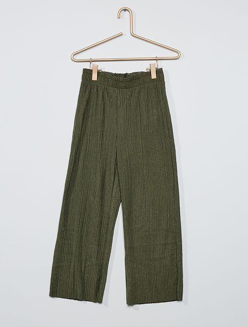 Pantalon en maille plissée                                                     kaki