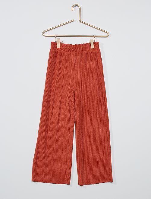 Pantalon en maille plissée                                                     rose orangé