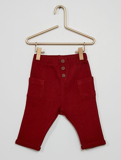Pantalon en maille relief 'chevrons'                                                     rouge brique