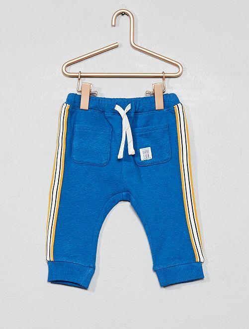 Pantalon en molleton à bande côté                             bleu Bébé garçon