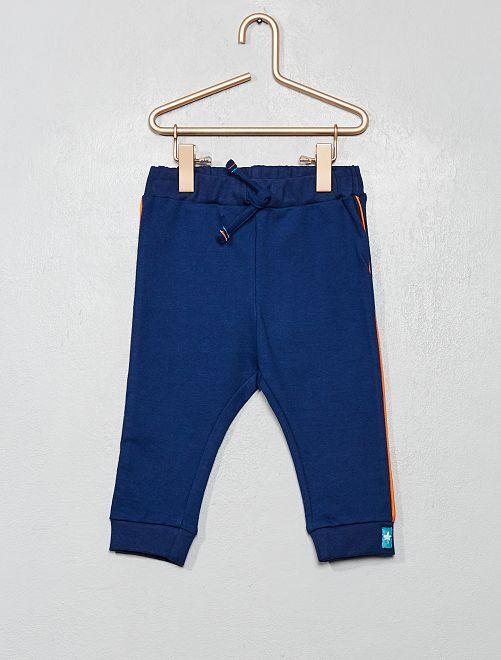 Pantalon en molleton à bandes                             bleu