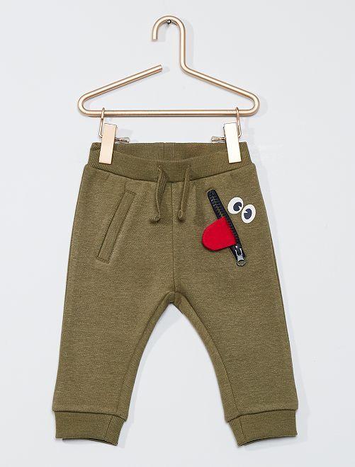 Pantalon en molleton animation 'langue'                                                     kaki