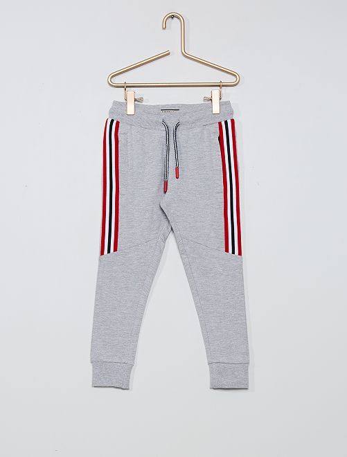 Pantalon en molleton avec bandes contrastantes                             gris