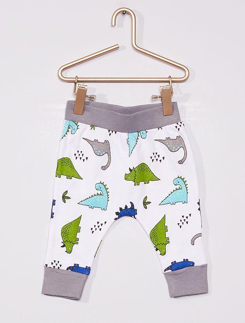 Pantalon en molleton                             blanc/gris