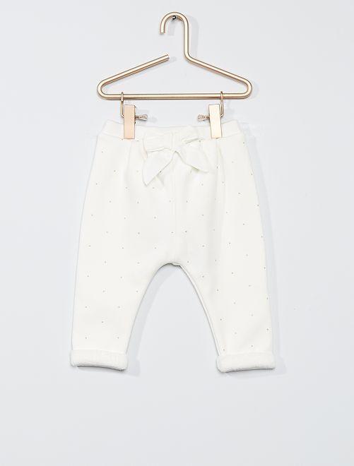 Pantalon en molleton chaud                                             blanc pois