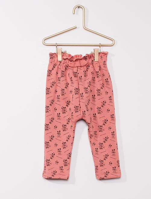 Pantalon en molleton chaud 'Minnie et Mickey'                                         rose