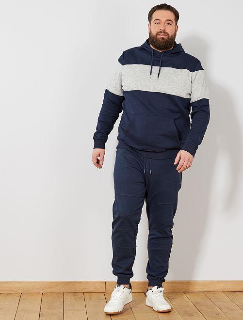 Pantalon en molleton découpes genoux                                                     bleu marine