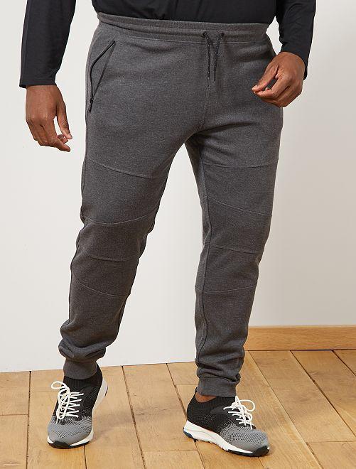 Pantalon en molleton découpes genoux                                                     gris foncé chiné Grande taille homme