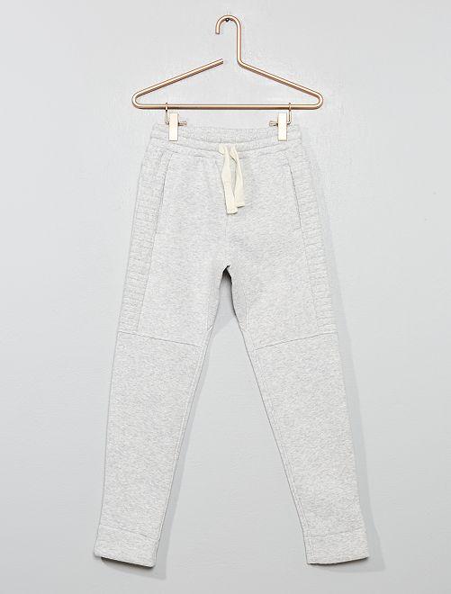 Pantalon en molleton détail relief                                         gris chiné