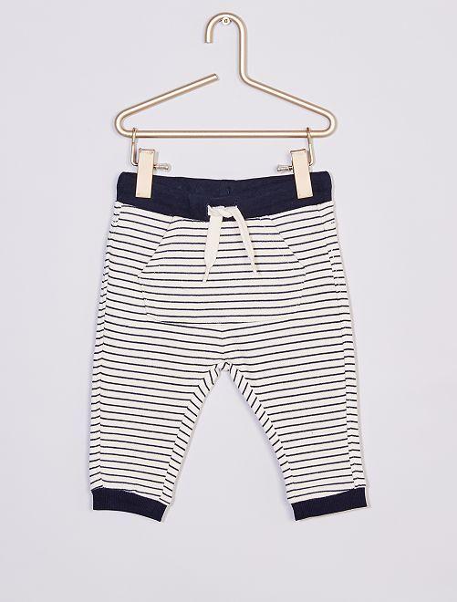 Pantalon en molleton éco-conçu                                                                                                                             écru/marine