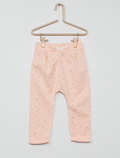 Pantalon en molleton éco-conçu                                                         imprimé rose