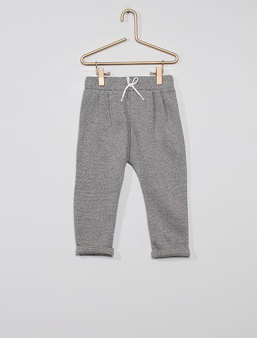 Pantalon en molleton éco-conçu                                                                                         rayé gris