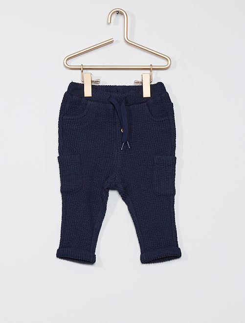 Pantalon en molleton fantaisie                                                     bleu marine