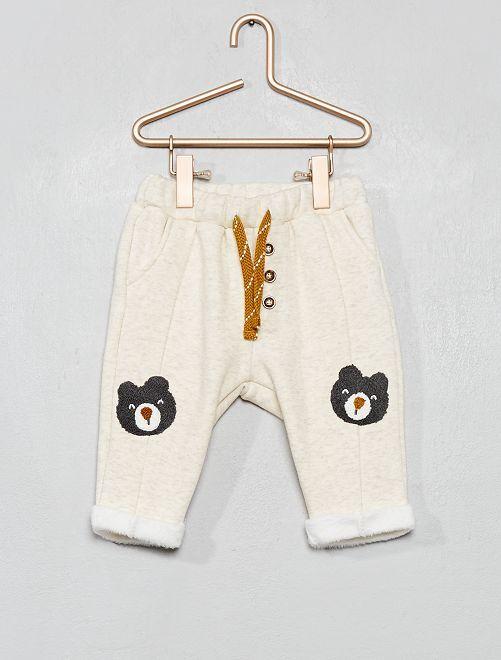 Pantalon en molleton fourré                     beige chiné