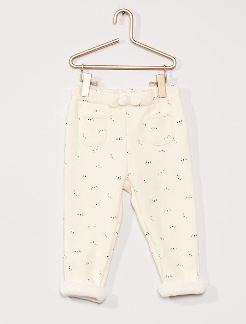 Pantalon en molleton fourré                                                     crème