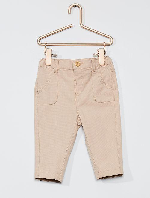Pantalon en piqué de coton                             beige clair