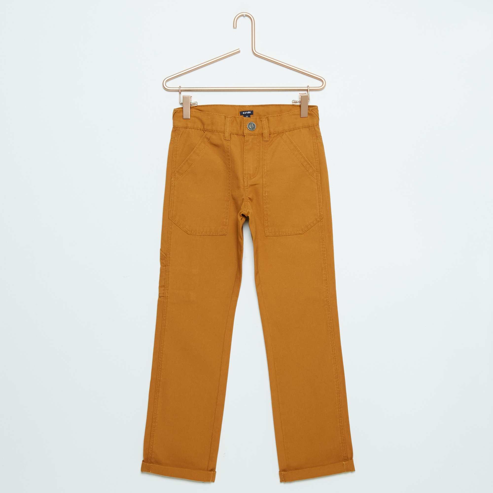 Couleur : JAUNE, , ,, - Taille : 9A, 7A, 12A,,Pour changer du traditionnel jean bleu, on met de la couleur ! - Pantalon en pur