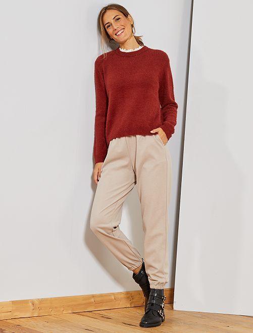 Pantalon en tissu tweedé                                                     beige