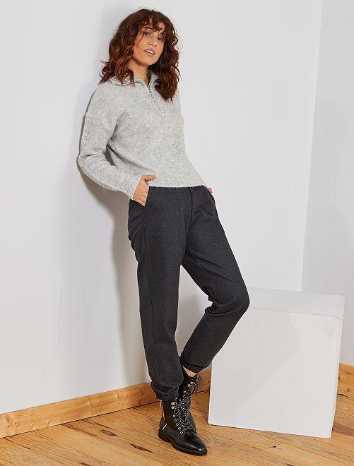 Pantalon en tissu tweedé                                                     gris pied de poule