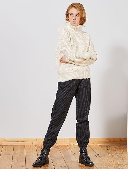 Pantalon en tissu tweedé                                                     noir rayé