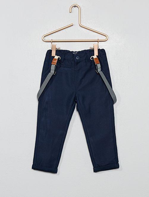 Pantalon en toile à bretelles                             bleu marine