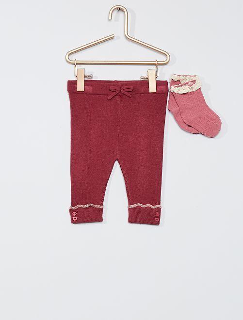 Pantalon en tricot + chaussettes                     rose pourpre