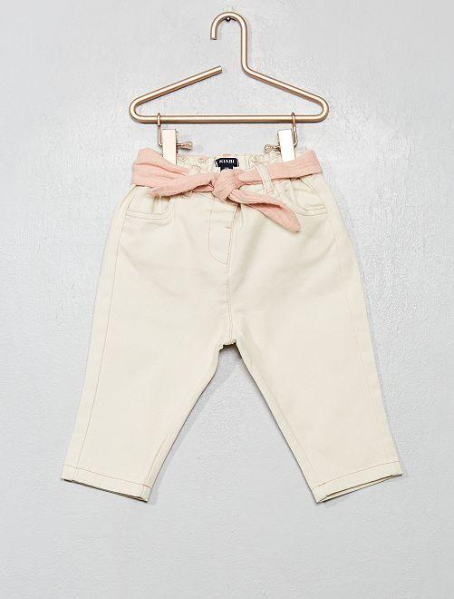Pantalon en twill avec ceinture en lin                             beige