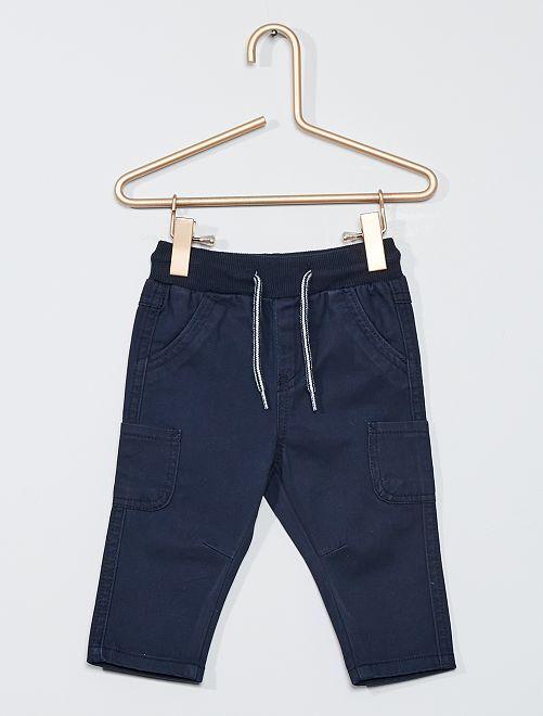 Pantalon en twill de coton                                                                                         bleu marine