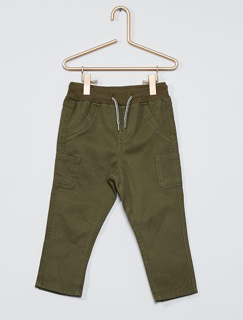 Pantalon en twill de coton                                                                                         kaki