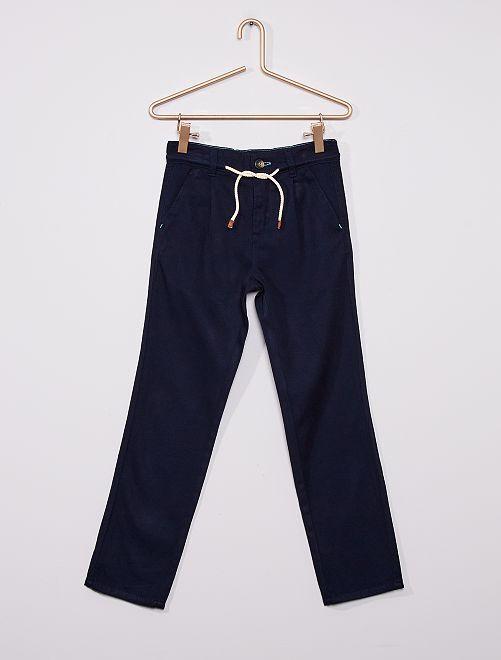 Pantalon en twill fluide                                                     bleu marine