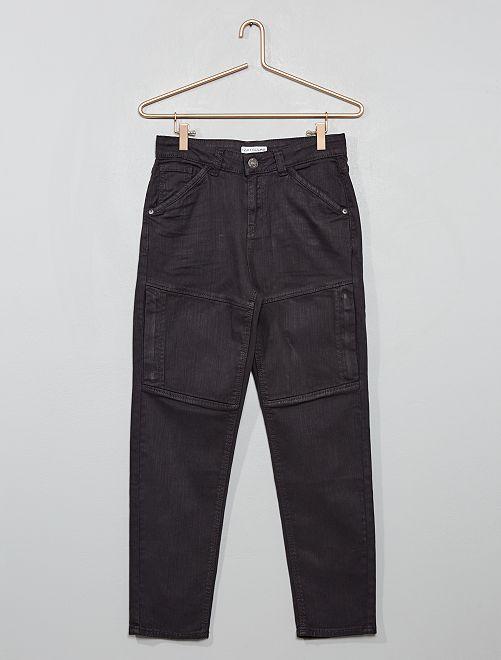 Pantalon en twill stretch à découpes                                         gris foncé