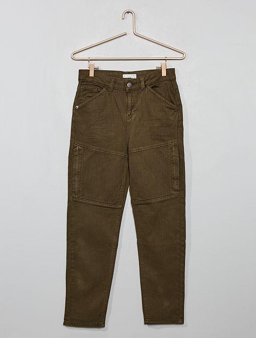 Pantalon en twill stretch à découpes                                         kaki