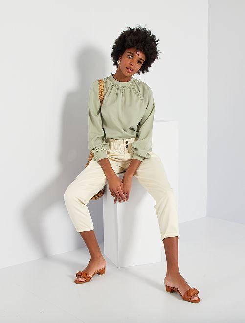 Pantalon en twill style paperbag                                         blanc cassé