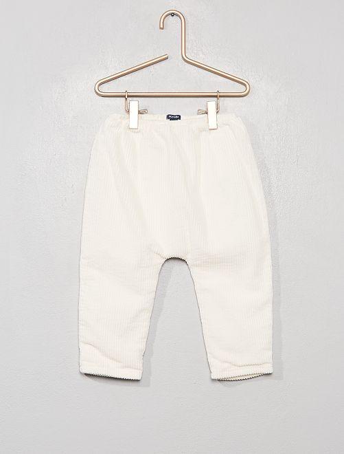 Pantalon en velours côtelé doublé                                         blanc