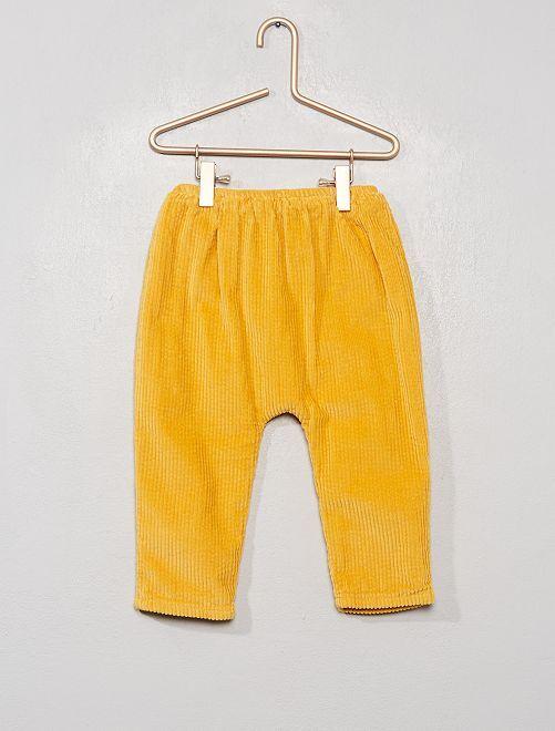 Pantalon en velours côtelé doublé                                         jaune