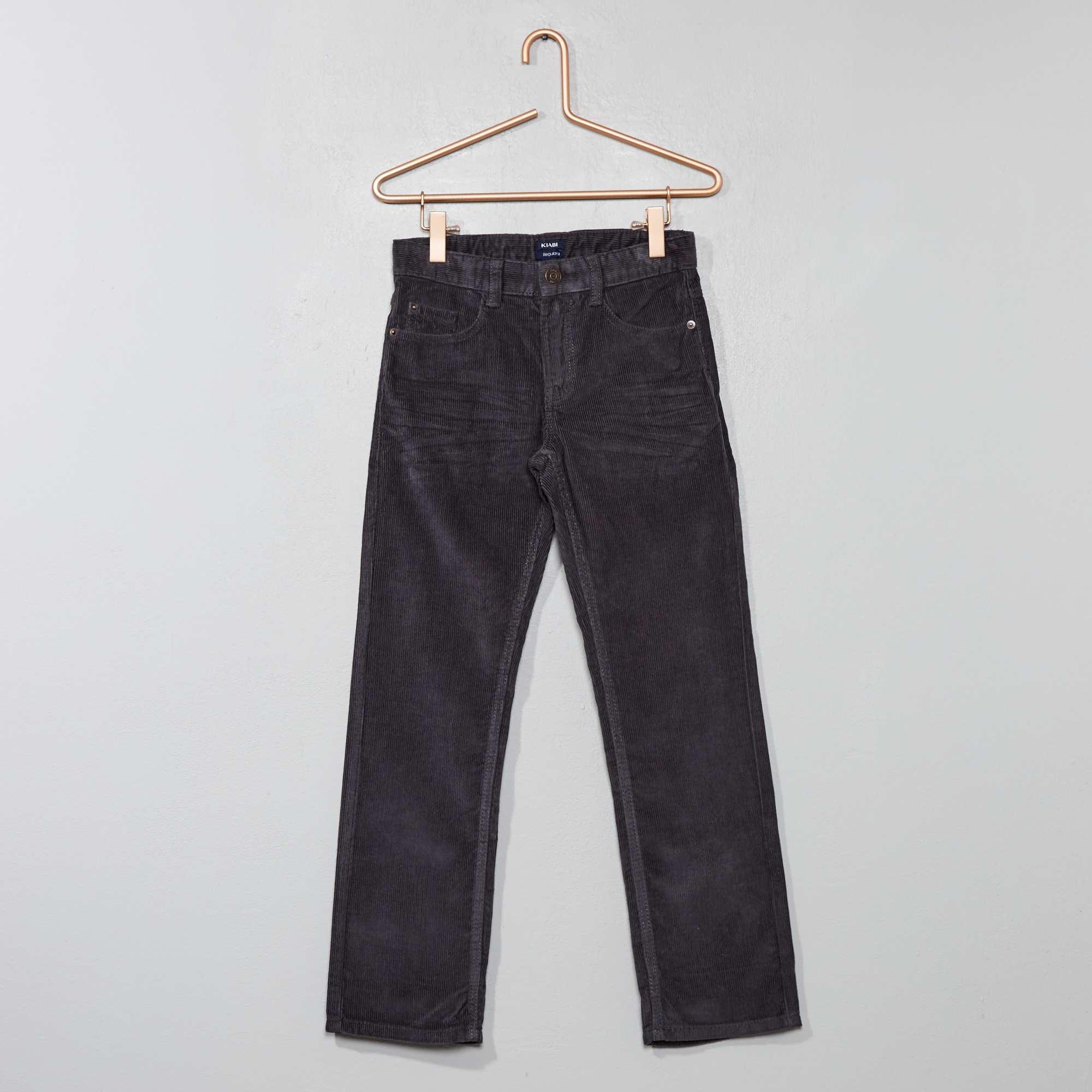 f18e6159d47d9 Pantalon en velours côtelé Garçon - gris - Kiabi - 6,00€