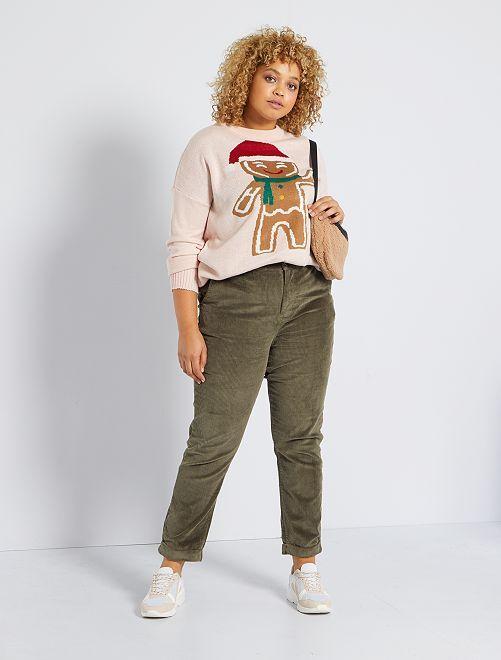 Pantalon en velours côtelé                                         kaki