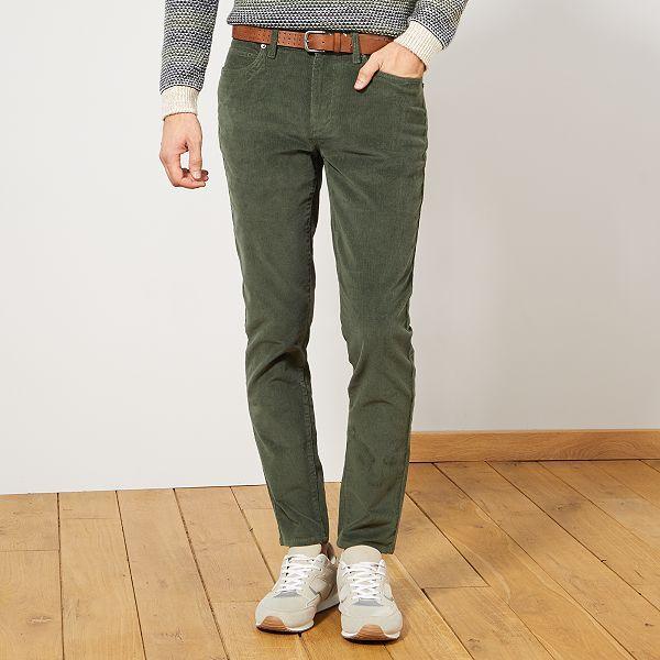 Pantalon en velours côtelé Homme - vert thym