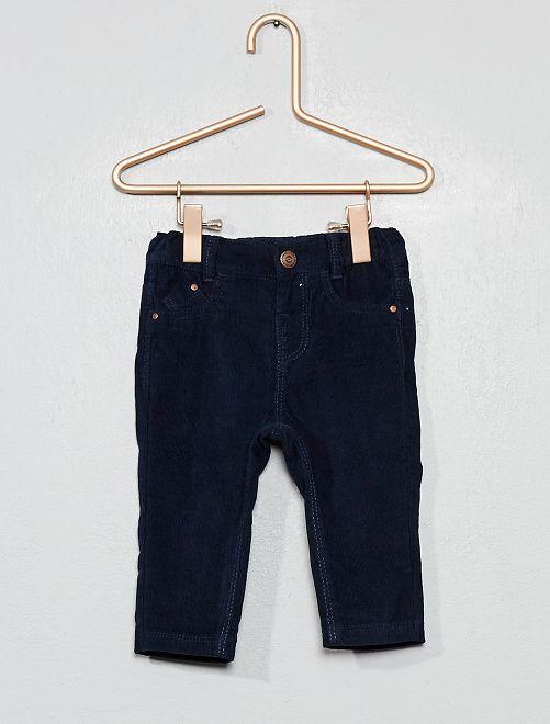 Pantalon en velours doublé                                                     bleu marine