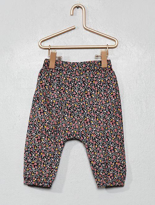 Pantalon en voile de coton imprimé 'fleurs'                     bleu marine