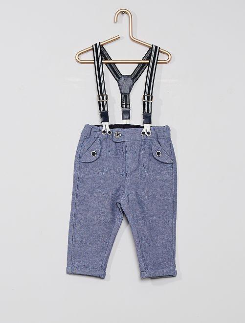Pantalon et bretelles éco-conçu                             bleu