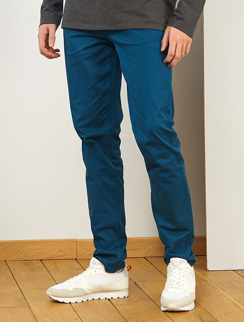 Pantalon fitted 5 poches L36 +1m90                                                                                         bleu canard