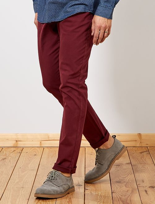 Pantalon fitted 5 poches L36 +1m90                                                     bordeaux Homme de plus d'1m90