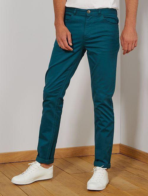 Pantalon fitted 5 poches L36 +1m90                                                     vert Homme de plus d'1m90