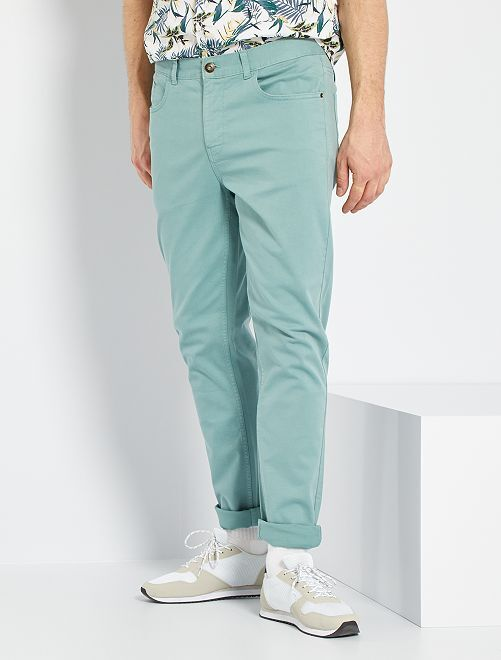 Pantalon fitted 5 poches L36 +1m90                                                                 vert pâle