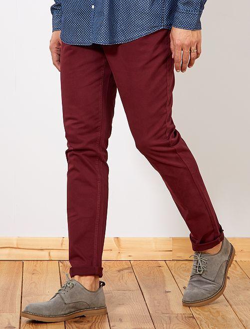 Pantalon fitted 5 poches L38 +1m95                                                     bordeaux Homme de plus d'1m90